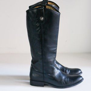 Frye Black Leather Melissa Knee High Riding Boots